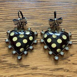 Betsey Johnson black polka dot heart earrings